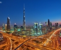 A view of Dubai City from SheikhZayed Road in Bluehour