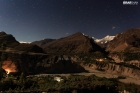 A night view of Hunza Valley in a Moon Light with Mountains