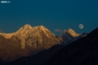 Moonrise rise before sunset in Hunza Valley